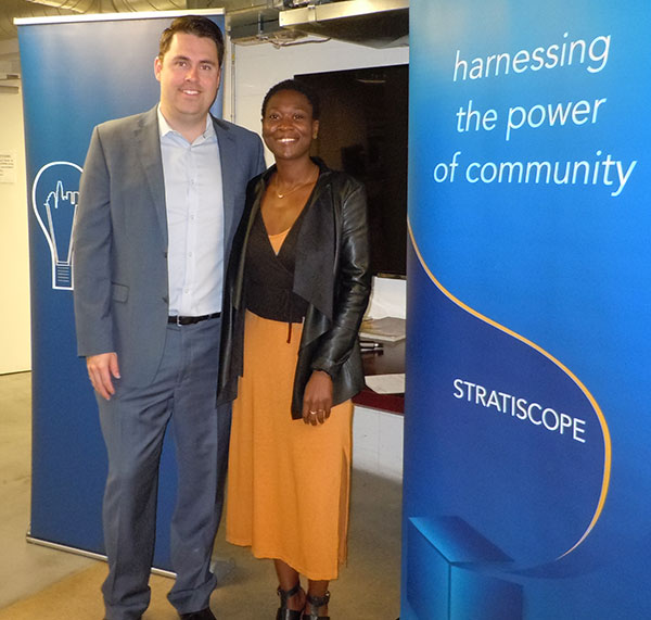 Tommy Newman and Angie Jean-Marie at the May 2018 City Impact Lab Breakfast
