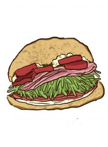 An artists rendering of one of LA's amazing sandwiches.